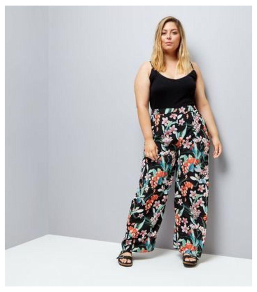 Curves Black Floral Print Wide Leg Trousers