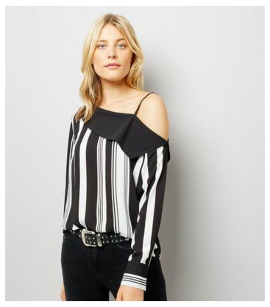 Black Stripe One Shoulder Shirt