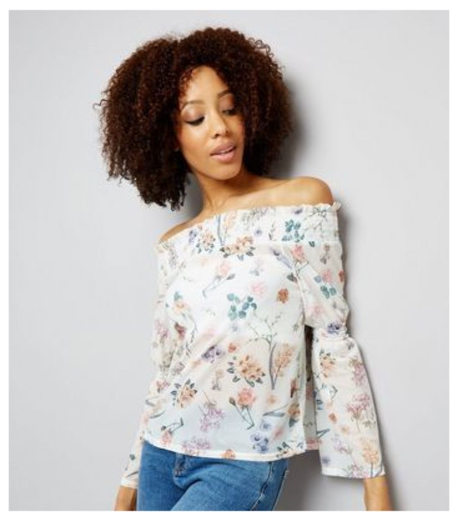 White Floral Print Mesh Shirred Bardot Neck Top