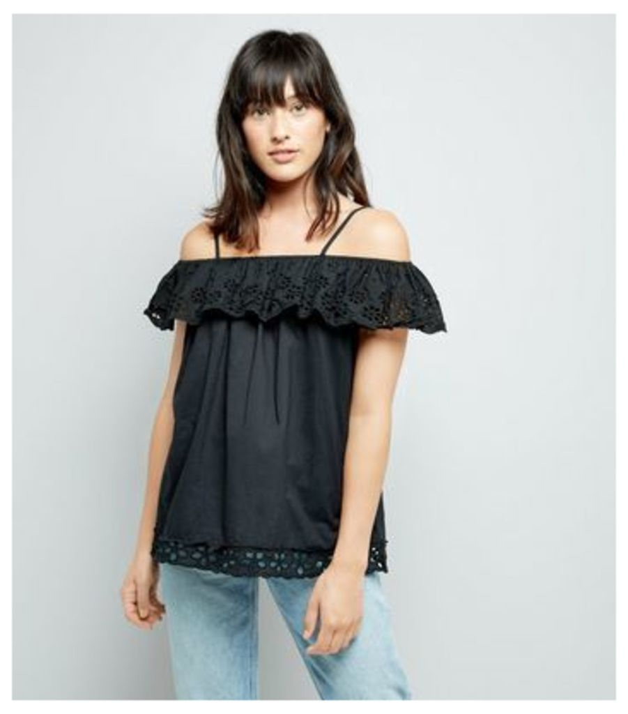 Cameo Rose Black Cut Out Embroidered Top
