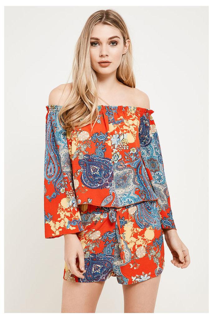 Brand Attic Bardot Boho Print Top - Orange
