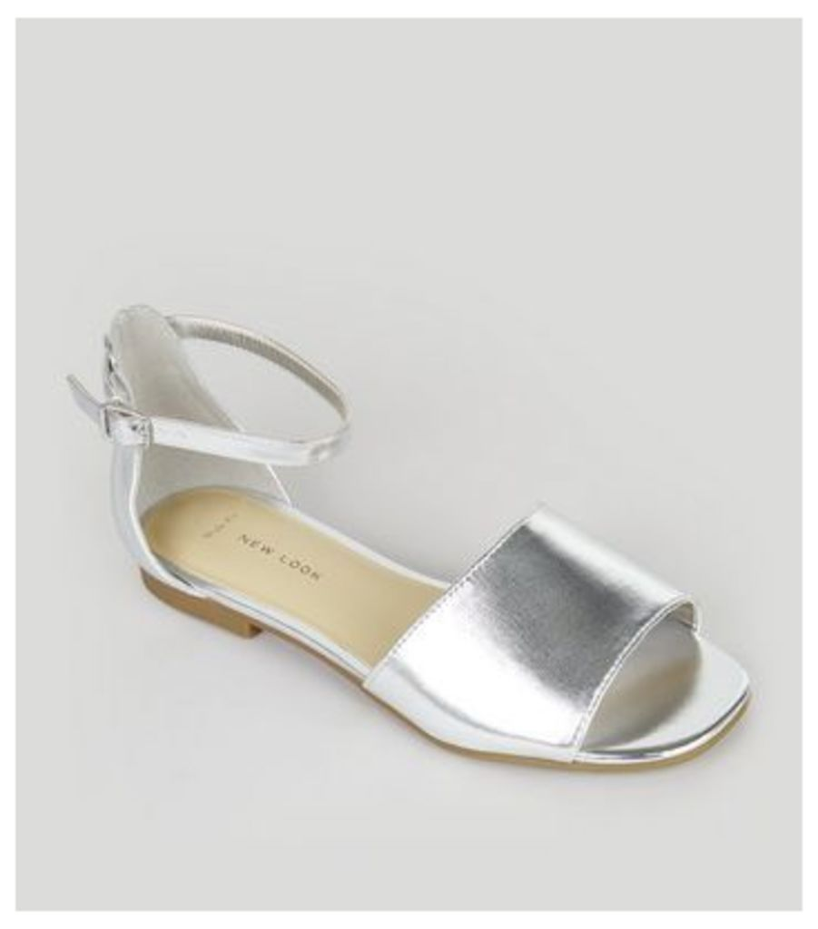 Wide Fit Silver Ankle Strap Sandals