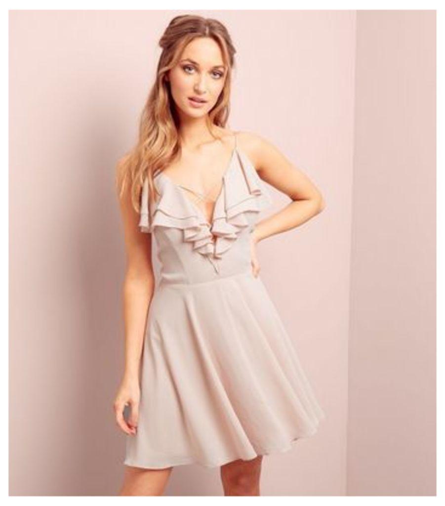 Shell Pink Frill Trim Cross Strap Skater Dress