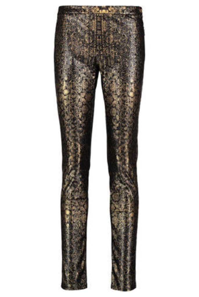 Roberto Cavalli - Printed Faux Leather Skinny Pants - Gold