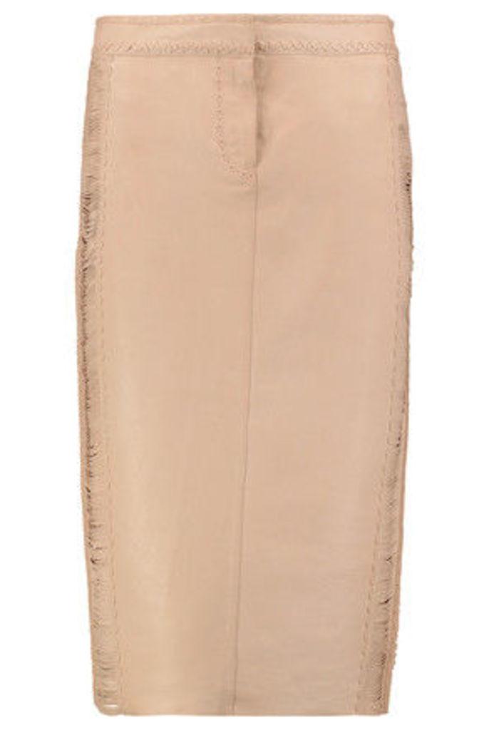 Roberto Cavalli - Whipstitched Leather Skirt - Pastel pink