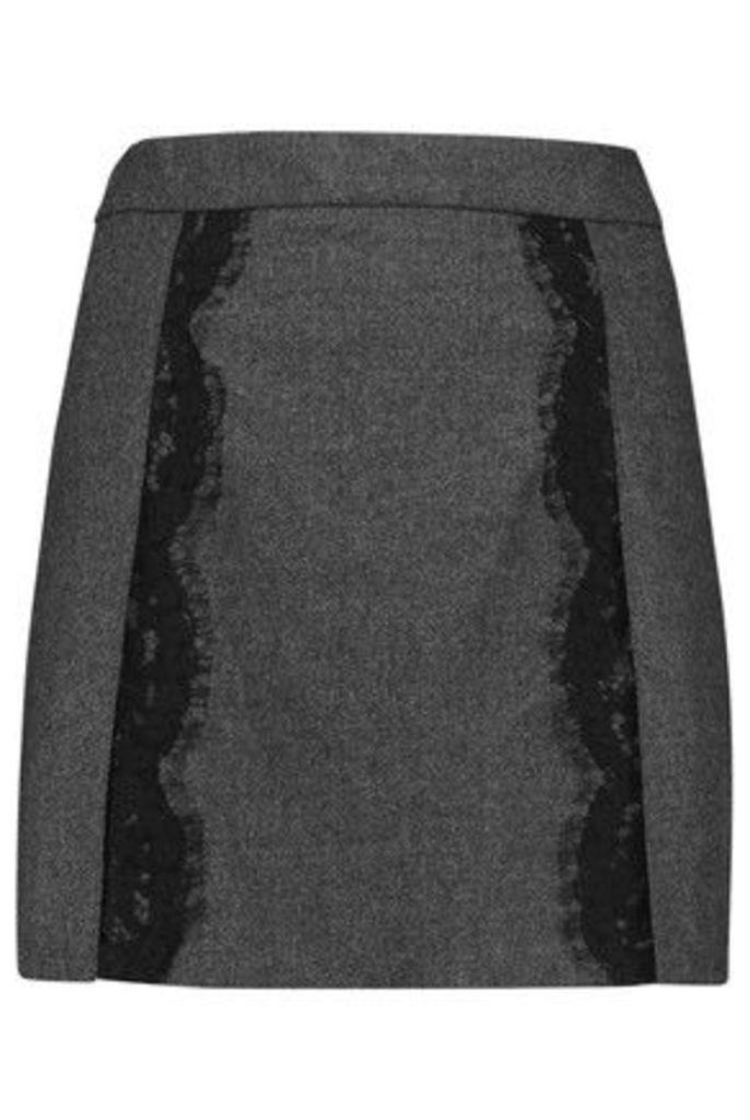 Roberto Cavalli - Lace-trimmed Felted Wool-blend Mini Skirt - Dark gray