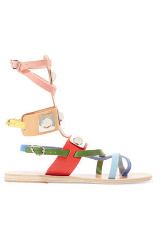 Ancient Greek Sandals - + Peter Pilotto Low Gladiator Embellished Leather Sandals - Multi