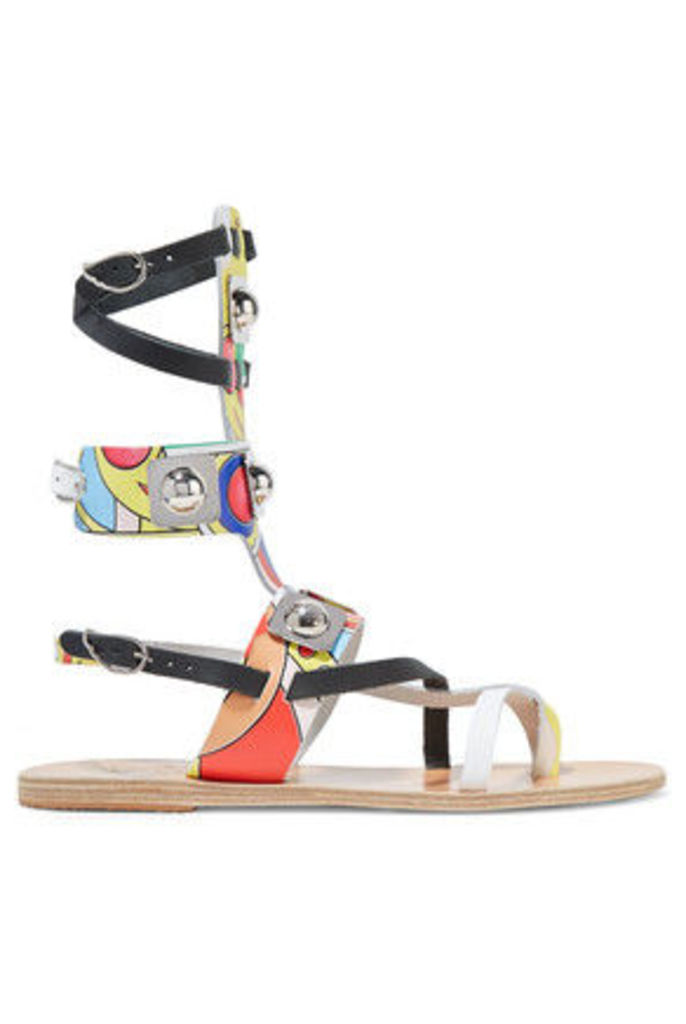 Ancient Greek Sandals - + Peter Pilotto Low Gladiator Studded Printed Leather Sandals - Multi