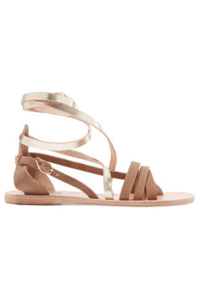 Ancient Greek Sandals - Satira Suede And Metallic Leather Sandals - Gold