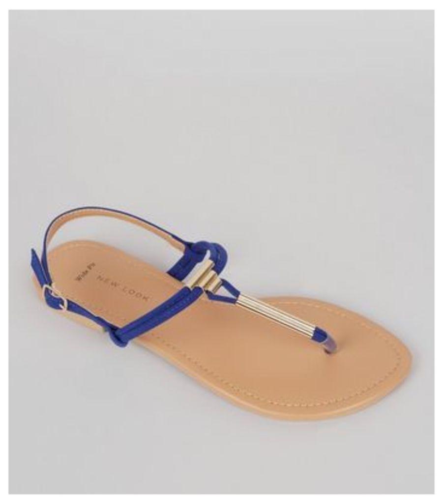 Wide Fit Blue Suedette Toe Post Sandals