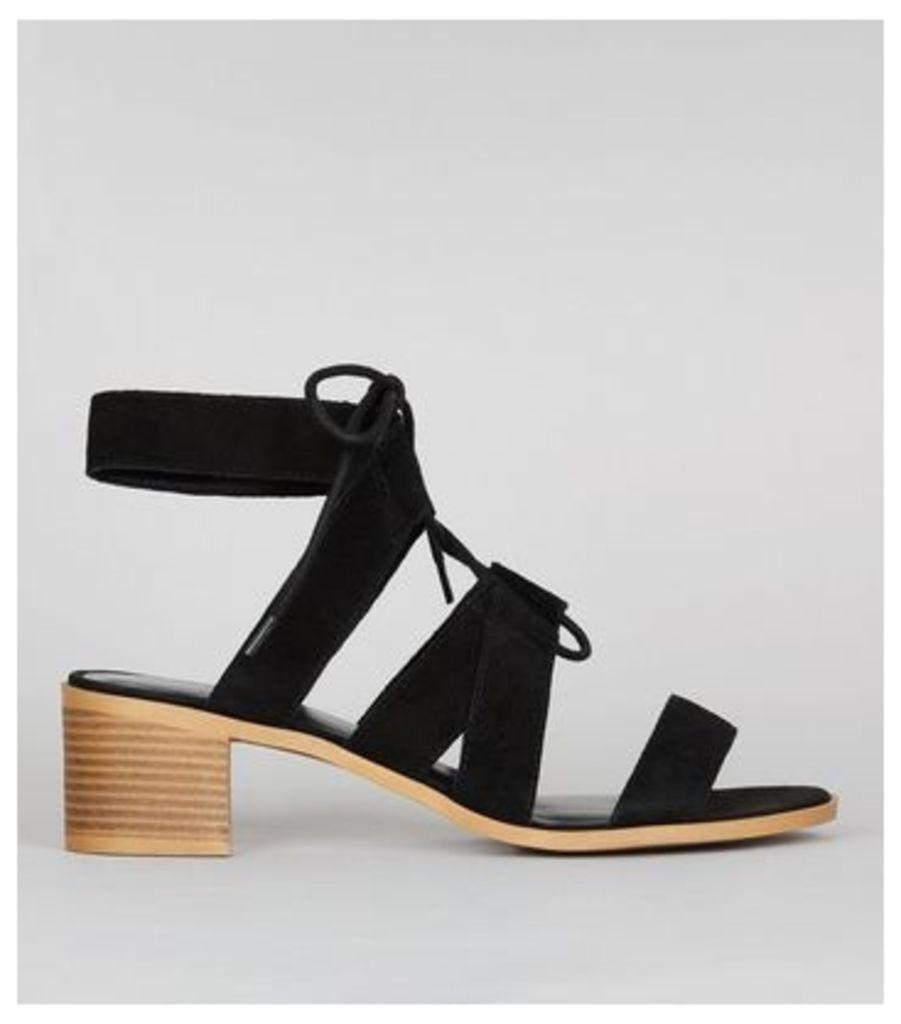 Black Suede Ghillie Block Heel Sandals