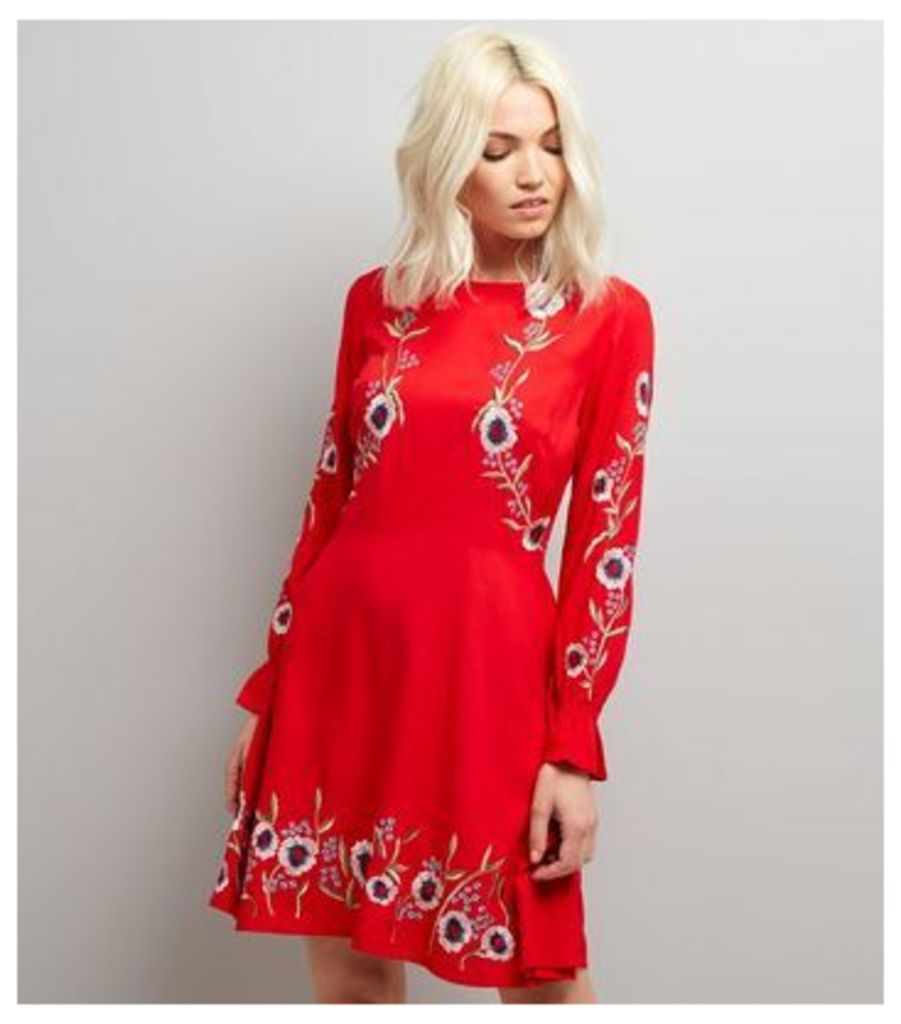 Petite Red Floral Embroidered Long Sleeve Skater Dress