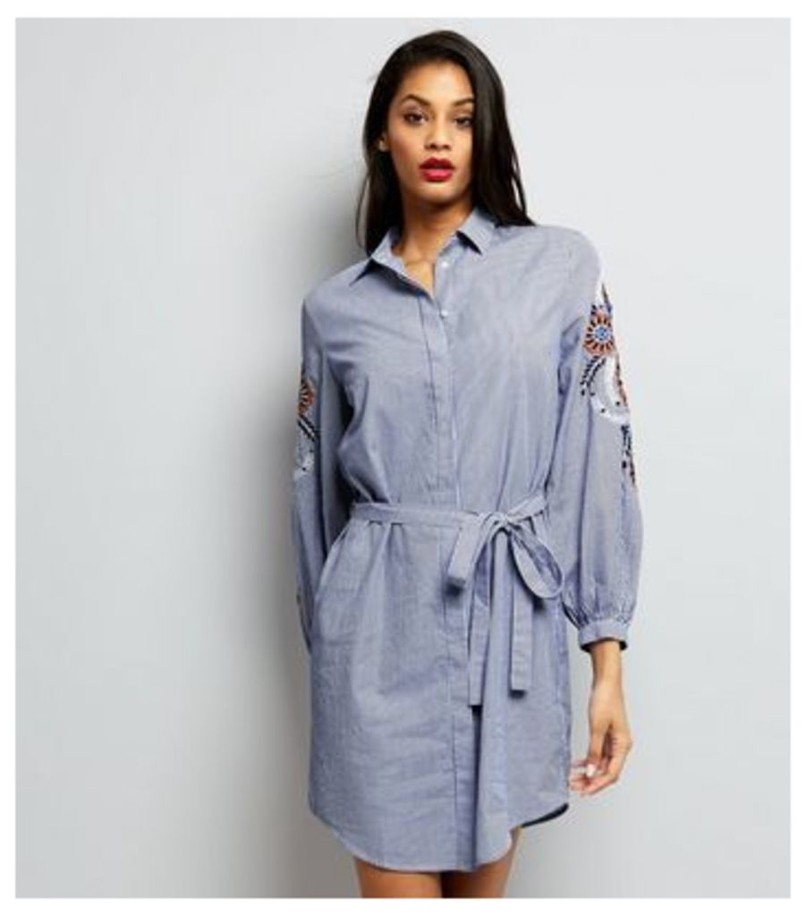 Blue Stripe Embroidered Trim Tie Waist Shirt Dress