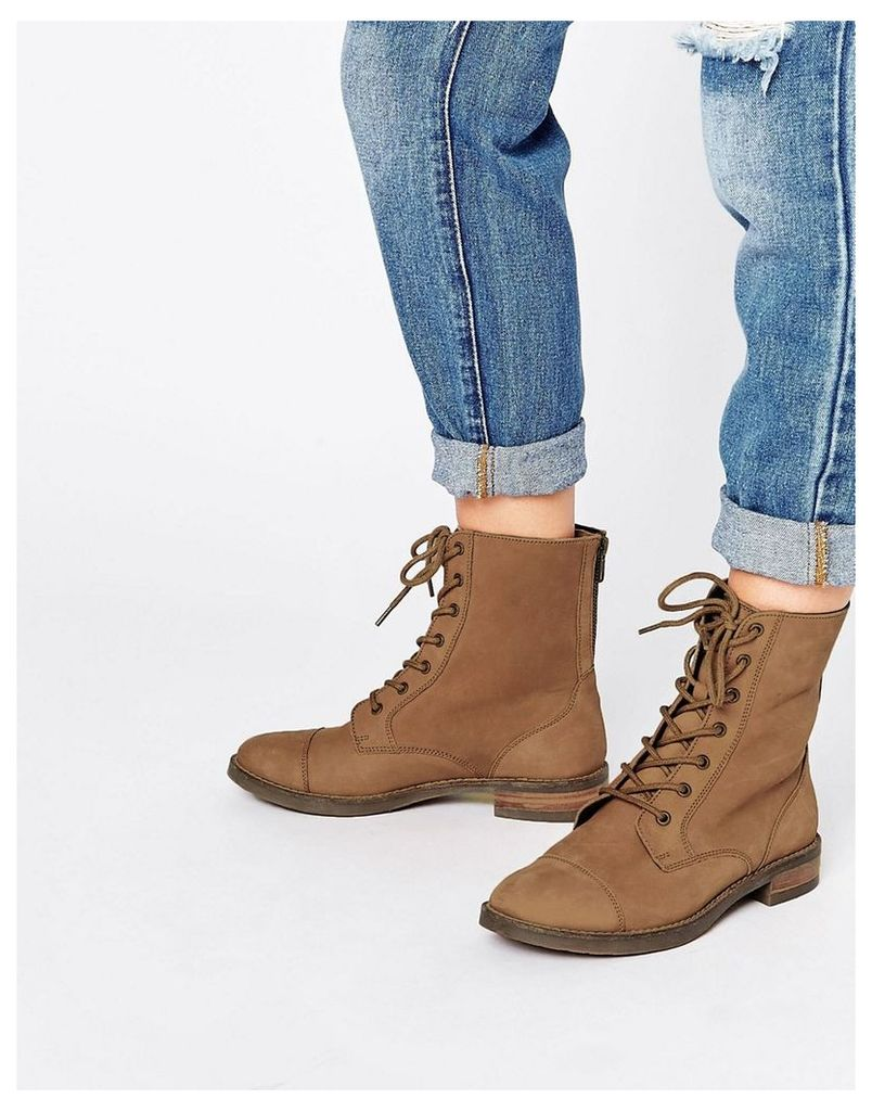 ASOS ANCROS Leather Lace Up Ankle Boots - Tan leather