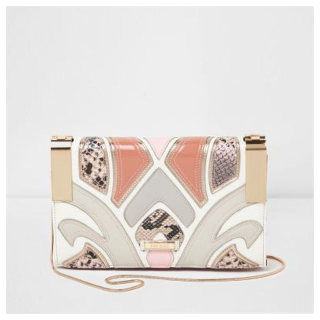River Island Womens Pink cutabout snakeskin crossbody clutch bag