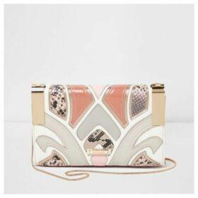 River Island Womens Pink cutabout snakeskin crossbody clutch bag