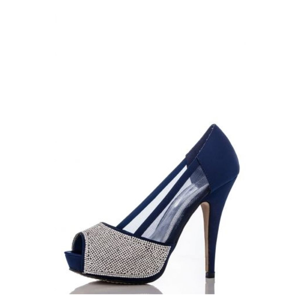 Navy Diamante Mesh Platform Shoes