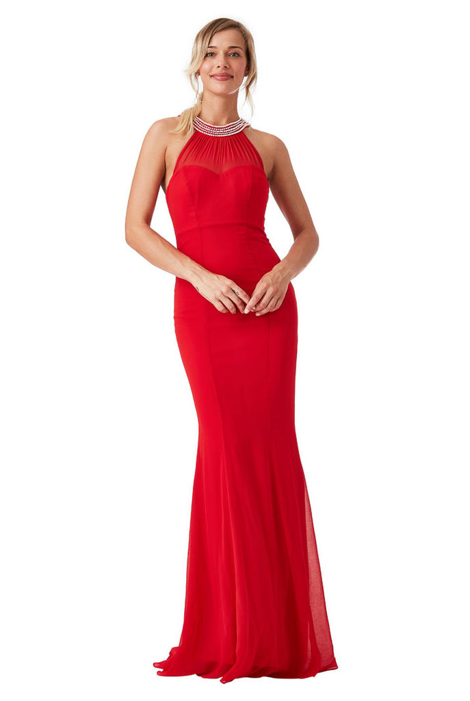 Embellished Neckline Fishtail Maxi Dress - Red
