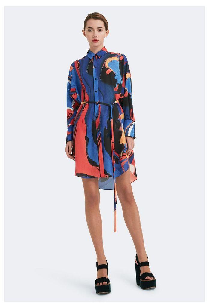 Portia Long Sleeved Shirt Dress - Azine Print