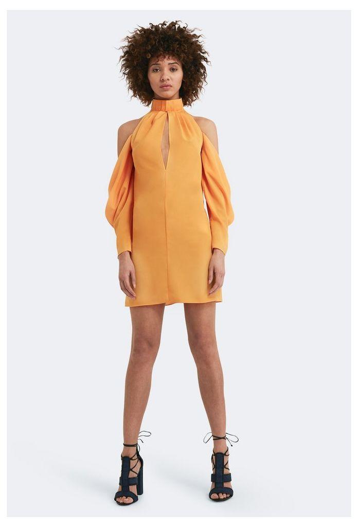 Pauline Cold Shoulder Mini Dress - Saffron