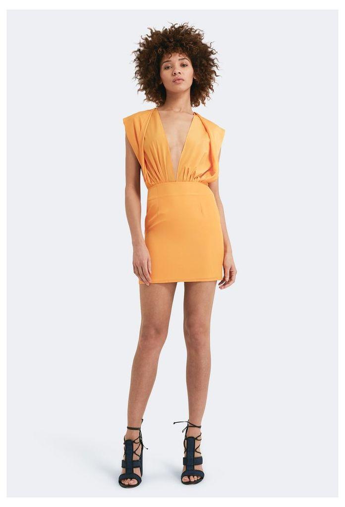 Reese Deep Plunge Mini Dress - Saffron
