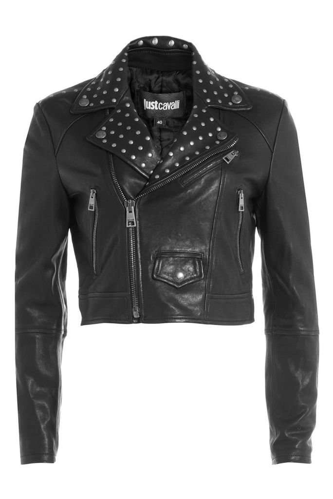 Just Cavalli Cropped Leather Jacket with Stud Embellishment