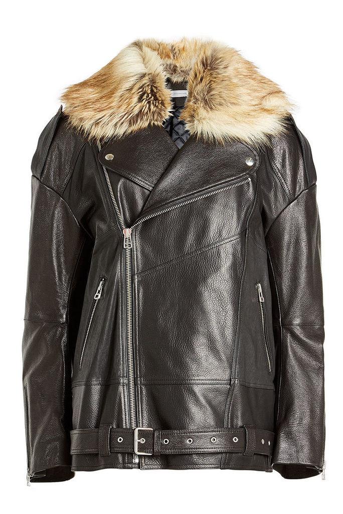 Faith Connexion Oversized Leather Jacket with Faux Fur Trim