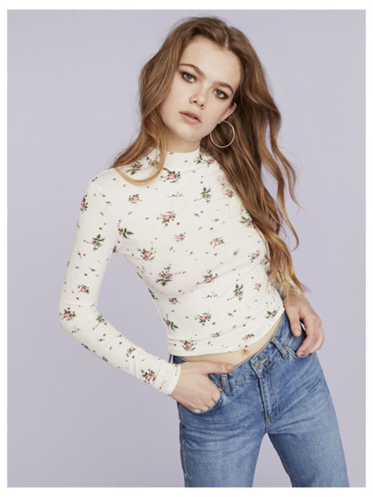 Cream Rose Ditsy Floral Funnel Neck Top