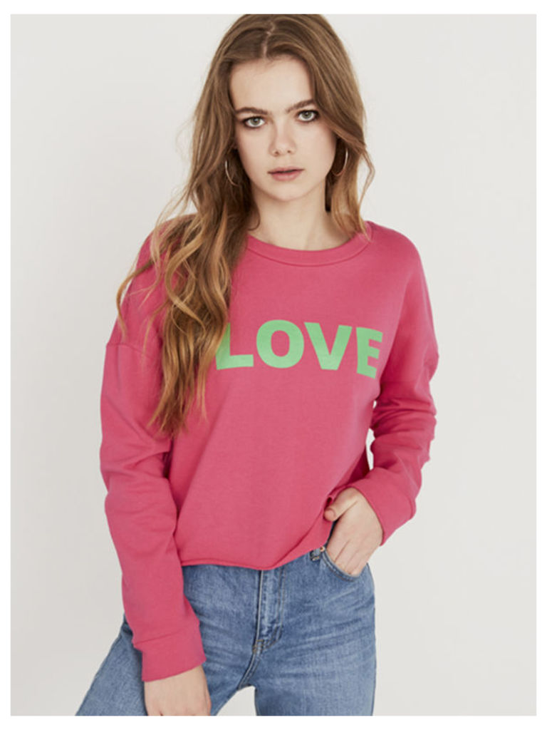 Pink Love Slogan Cropped Sweater