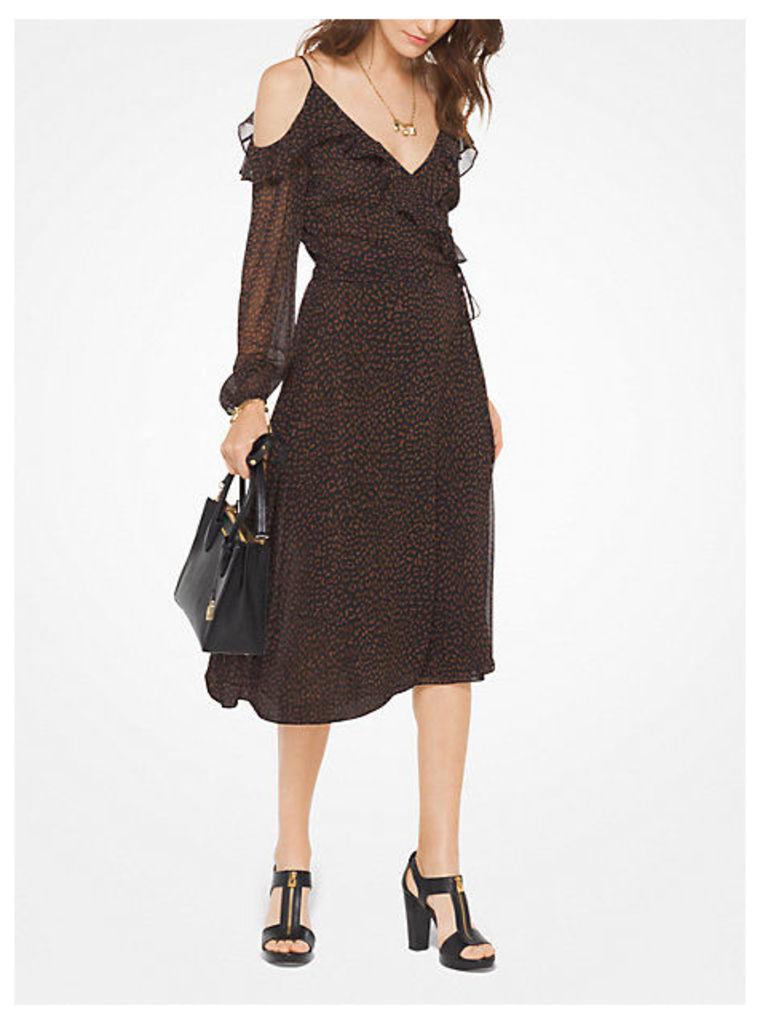 Leopard Georgette Peekaboo Wrap Dress