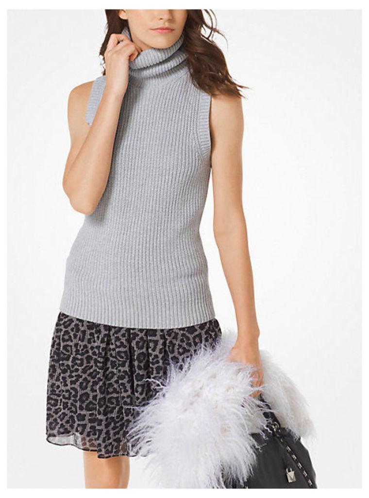 Cotton-Blend Ribbed Turtleneck