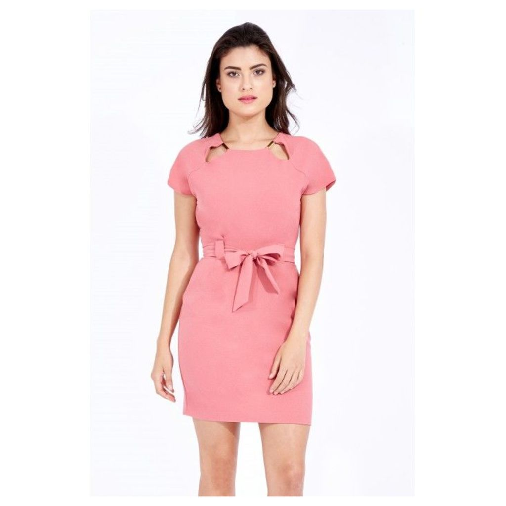 DOUBLE TRIM CREPE BELTED DRESS