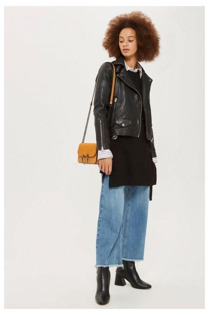 Womens Leather Biker Jacket - Black, Black
