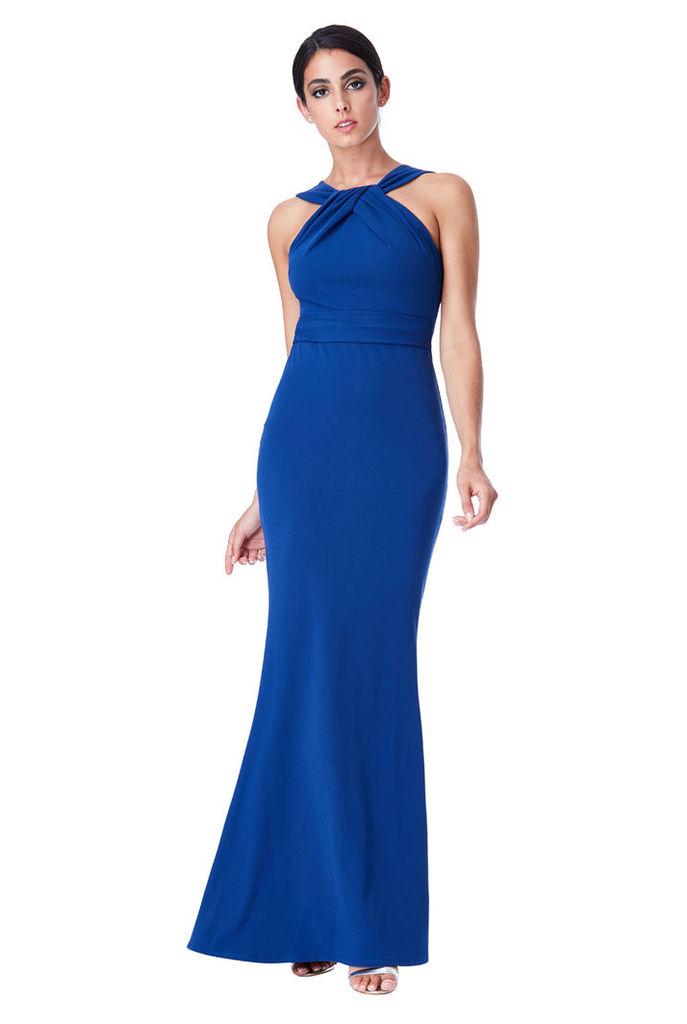 Pleated Neckline Maxi Dress - Royal Blue