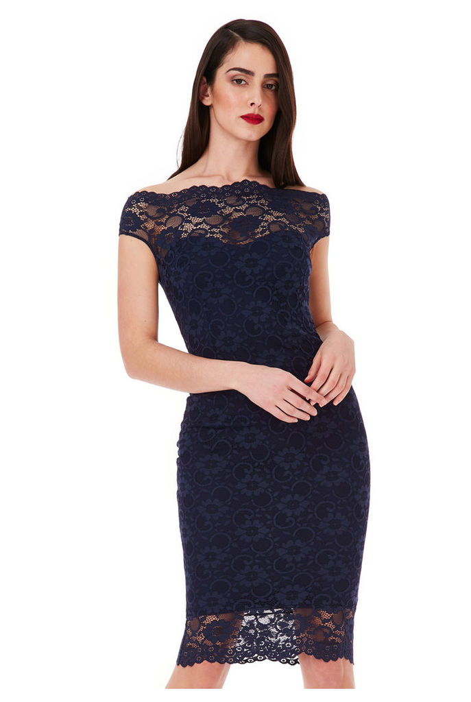 Bardot Lace Midi Dress - Navy