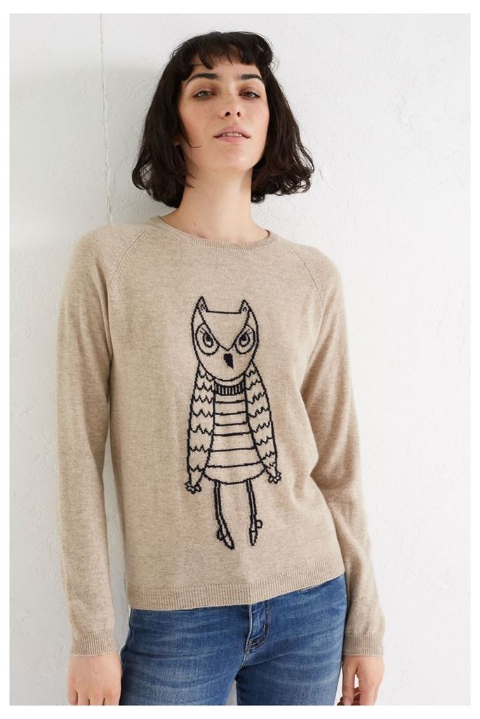 NEW Oatmeal Owl Outline Cashmere Sweater