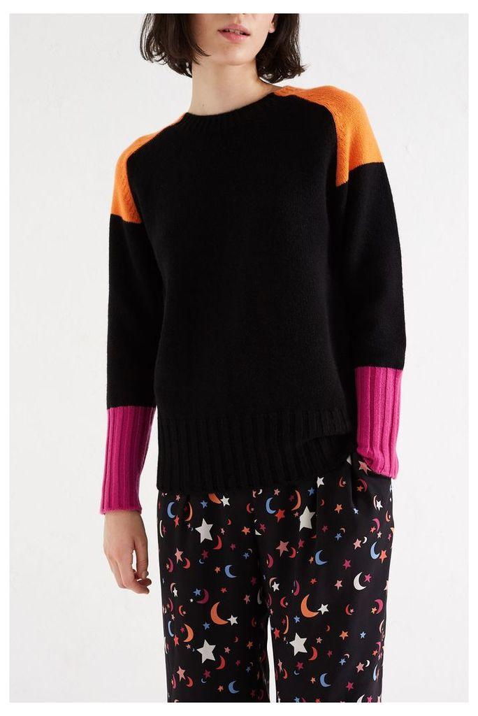 NEW Black Colour Block Cashmere Sweater