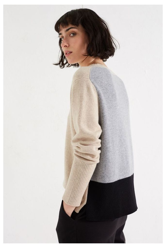 NEW Oatmeal Ribbed Back Cashmere Sweater