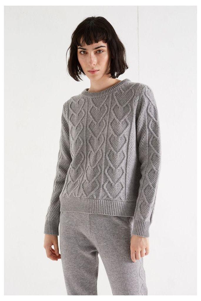NEW Grey Heart Aran Cashmere Blend Sweater