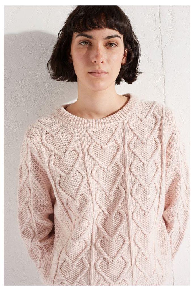 NEW Pink Heart Aran Cashmere Blend Sweater