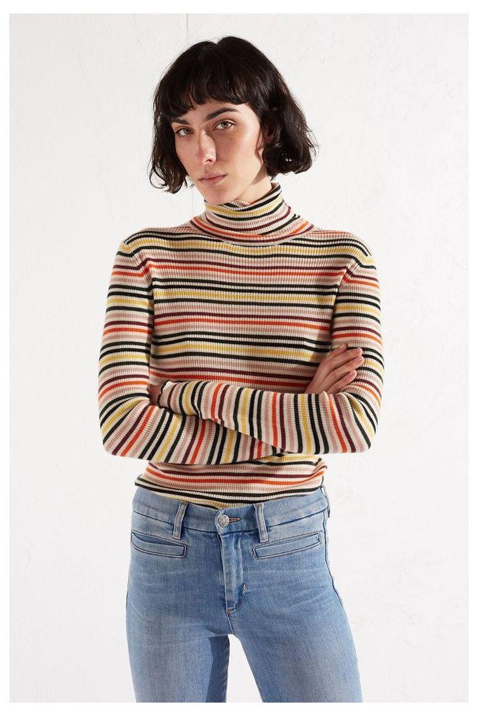 NEW Multicoloured Stripe Fine Ribbed Polo Neck