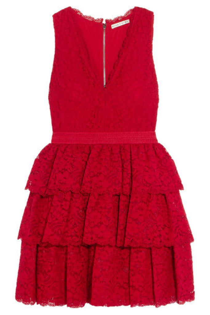 Alice + Olivia - Clora Tiered Corded Lace Mini Dress - US0