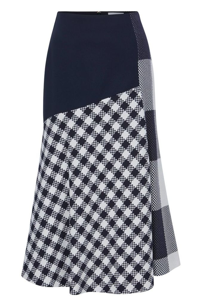 Knee-length skirt in checked cotton