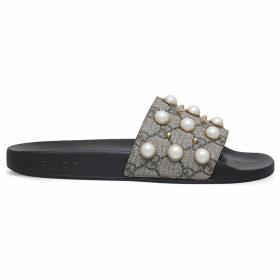 Pursuit pearl-embellished rubber slider sandals