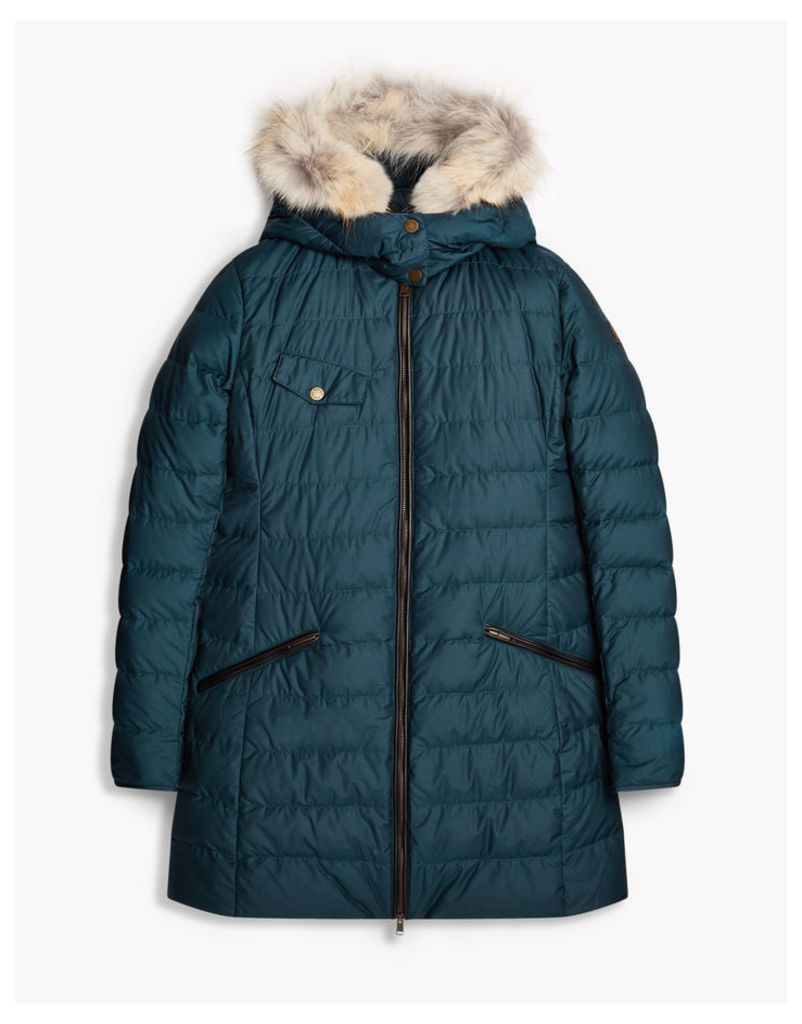 Belstaff Melcombe Down Coat Woman W/Fur Blue