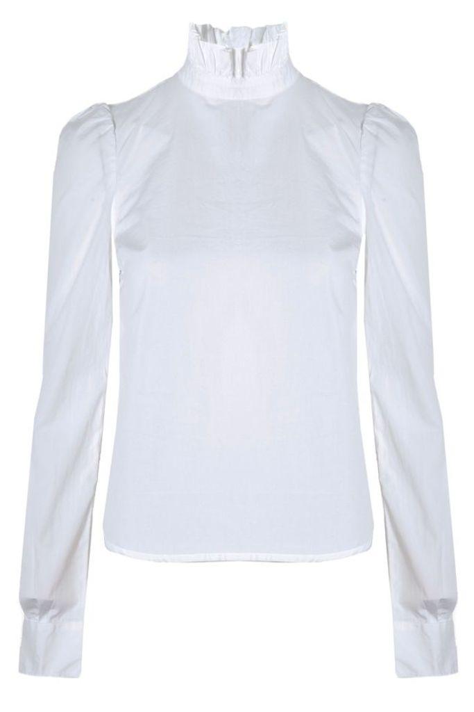 Ruffle Neck Poplin Shirt Blanc