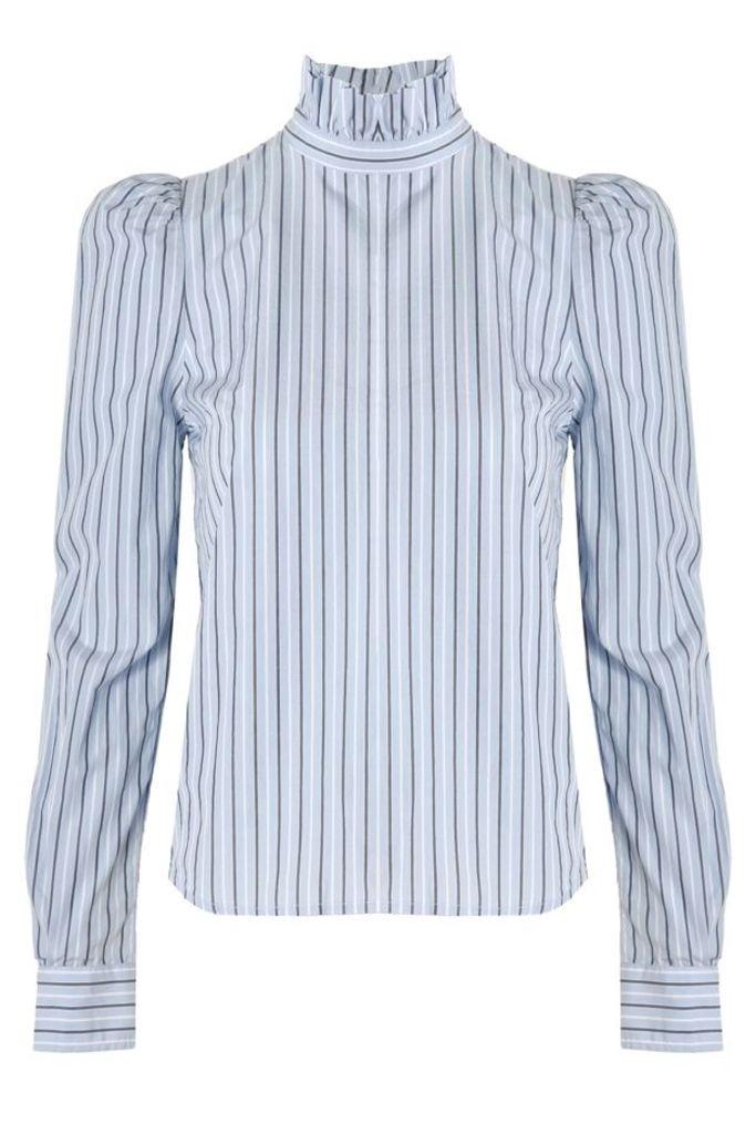 Ruffle Neck Poplin Shirt Evening Blue Multi