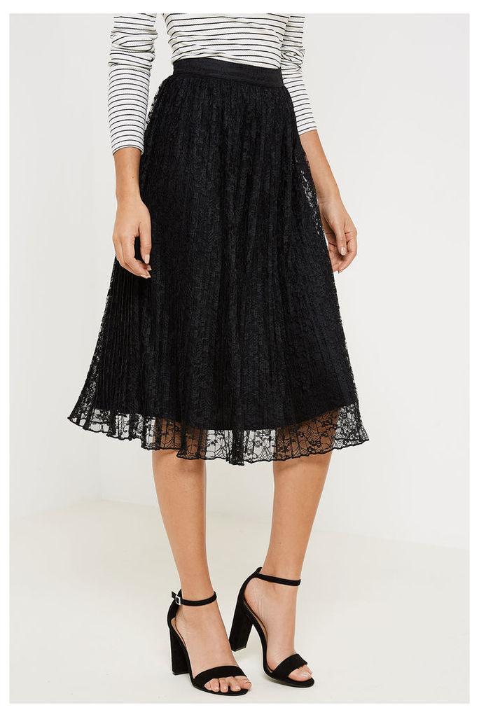 Fashion Union Cameron Lace Skirt - Black