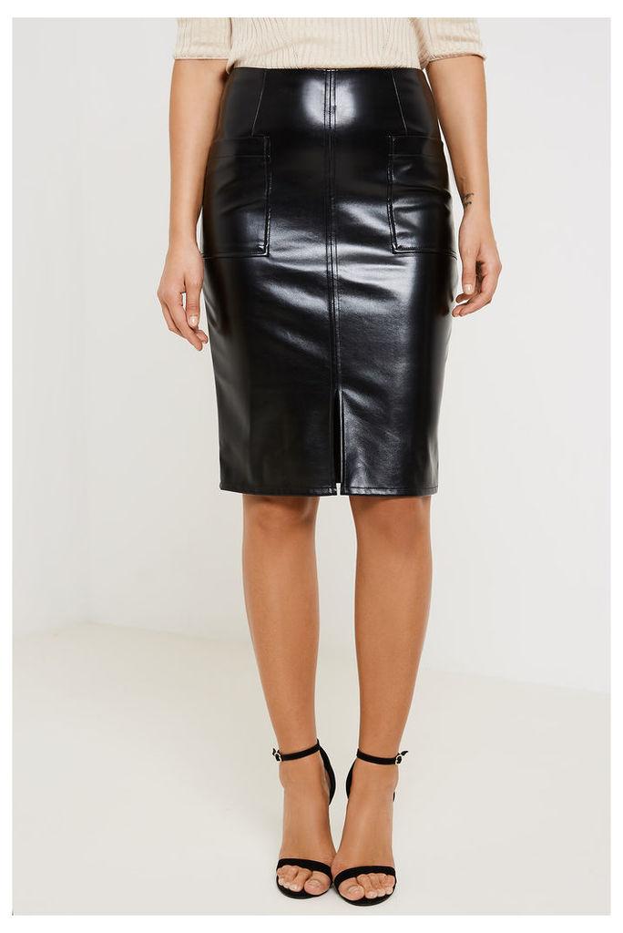 Fashion Union Front Split Faux Leather Skirt - Black