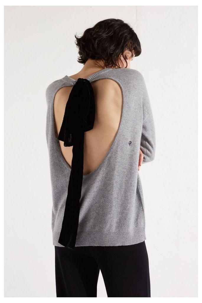 NEW Grey Velvet Bow Cashmere Blend Sweater